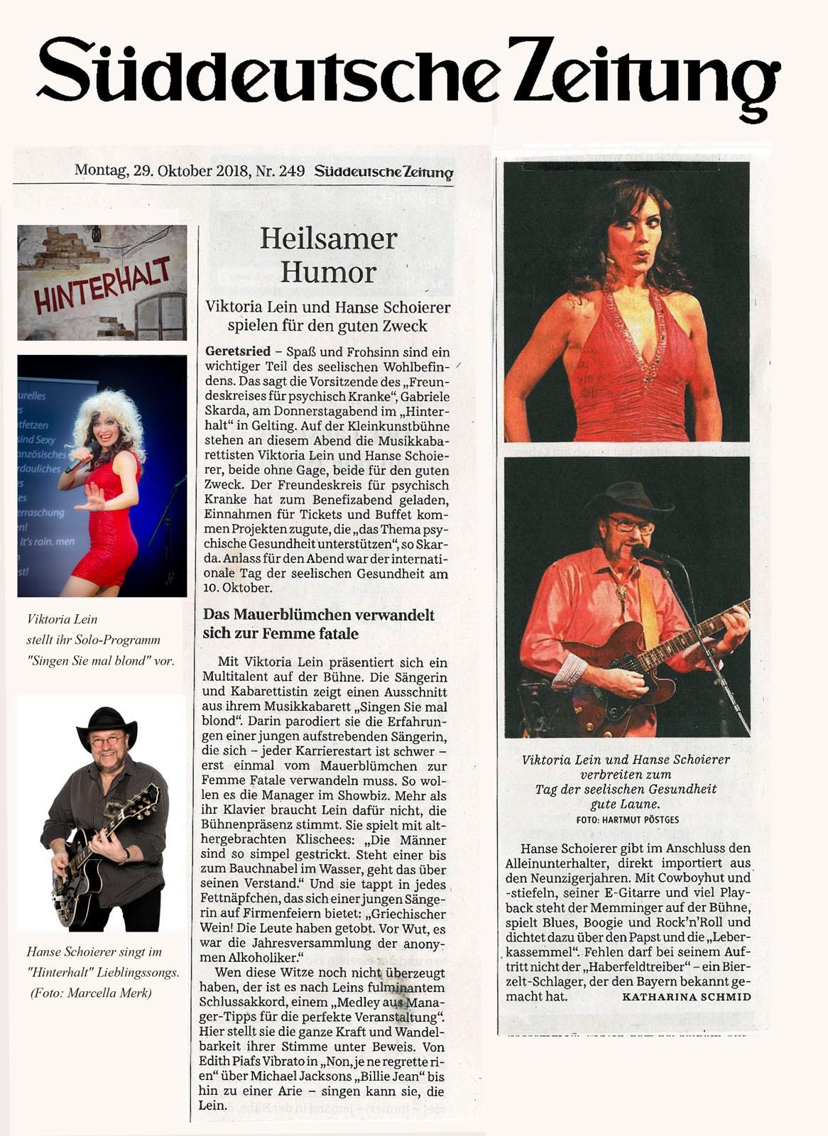 Sueddeutsche Zeitung Hinterhalt Viktoria Lein Kabarettistin und Saengerin aus Muenchen